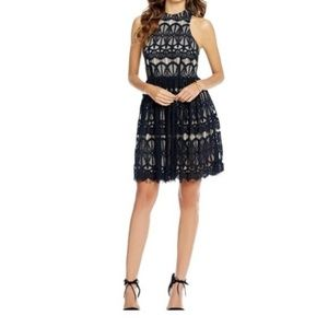 Gianni Bini Black Nude Lace Maddison Dress